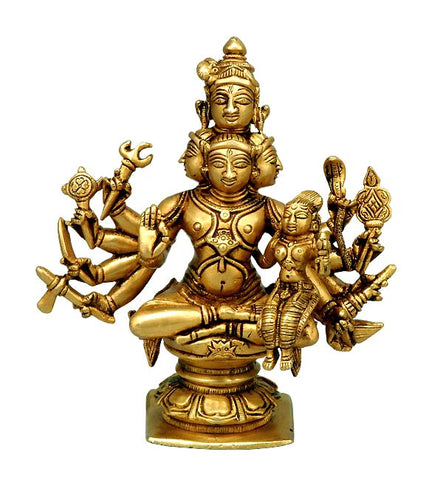 Panchanana - Five Headed Shiva with Parvati