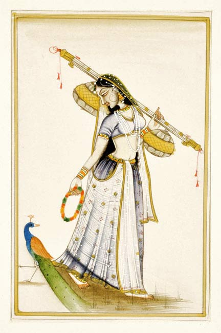 Lady with Sitar - Miniature Painting