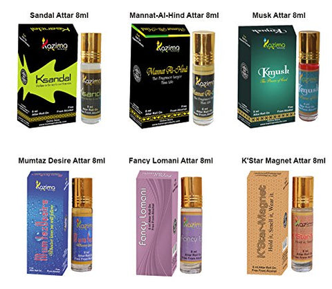 Attar Perfume Combo of 6 pc. (8ml)