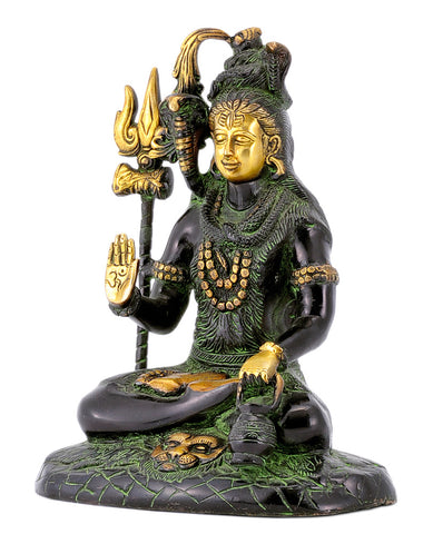 Yogeshwar Shiva Mahadev Brass Statue in Black Finish