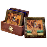 Gemstone Painting Wooden Coaster Set of 6