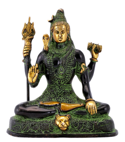 Four Hand Adi Dev Shiva Brass Statue in Black Finish