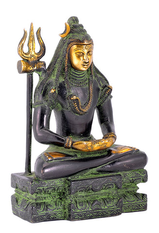 Yogiraj Shiva Shankar - Brass Statue in Black Finish