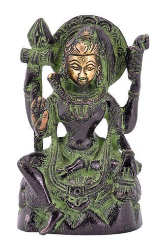 Blessing Lord Shiva - Finish Brass Statue