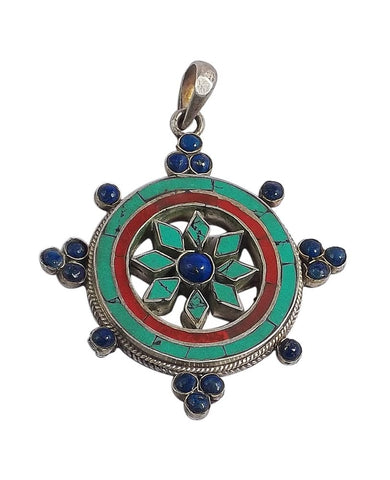 Stone Studded Dharma Wheel Silver Pendant