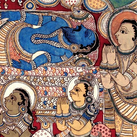 Griefing king Dasaratha - Hindu Epic Ramyana Painting 42""