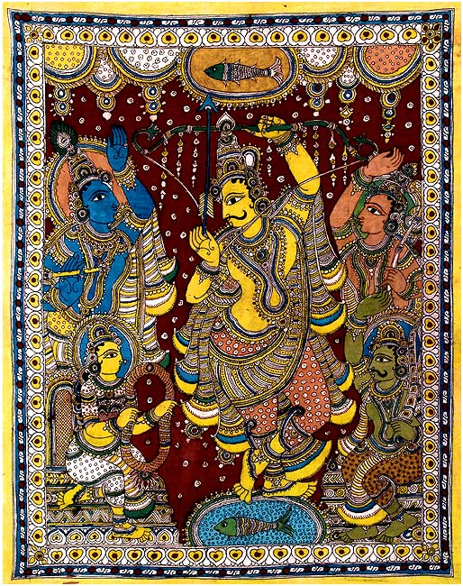 Arjuna, the Peerless Archer - Kalamkari Painting