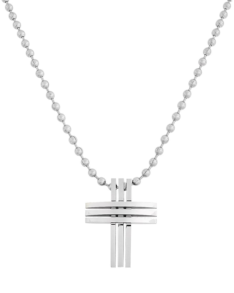 """ Pleated Cross Pendant"" = Stainless Steel Necklace"