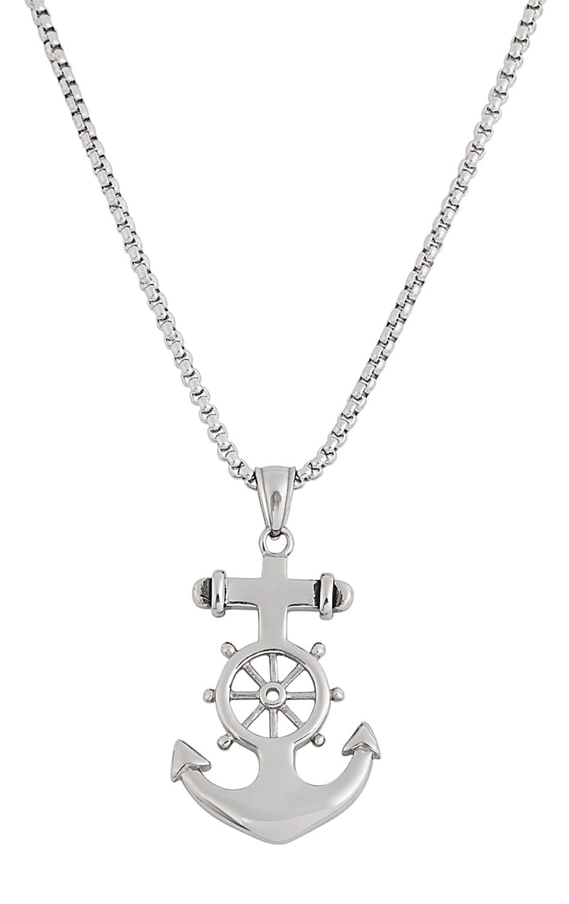 Medium Size Silver Stainless Steel Anchor Necklace