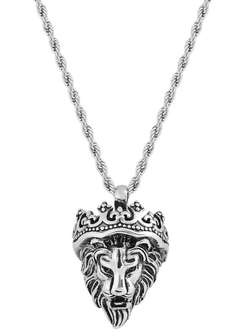 Stainless Steel 3 Dimensional Lion Head W/ Crown Pendant Necklace