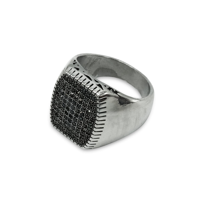 Silver- Stainless- Steel- Studded- Box- Shaped- Ring