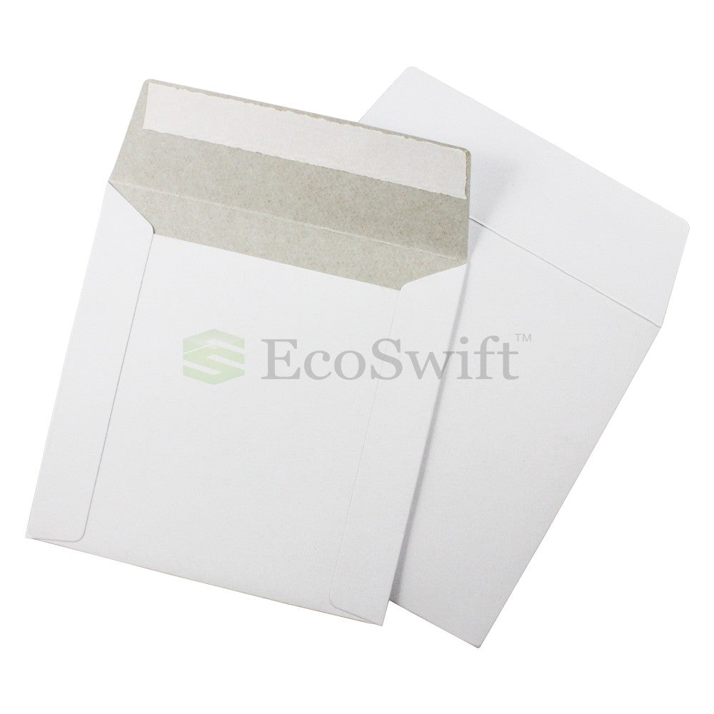 Self-Seal Keep Flat White Cardboard Mailers - 6 x 6