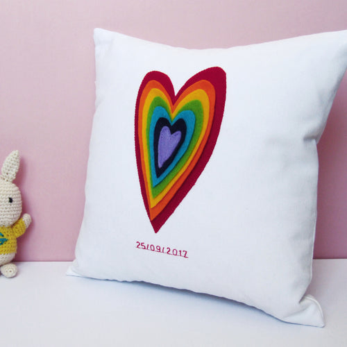 Personalised Date Of Birth rainbow Cushion