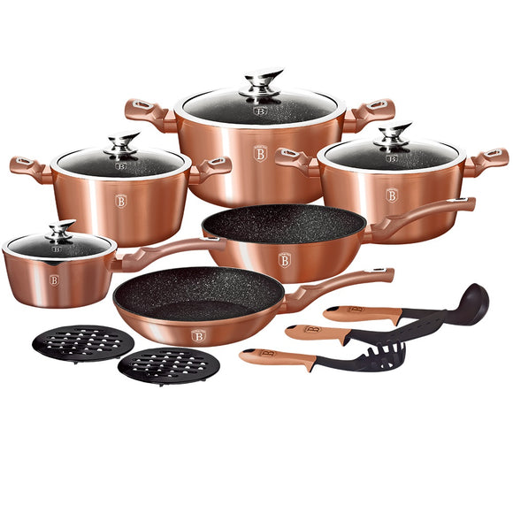 Berlinger Haus 15-Piece Marble Coating Cookware Set - Rose Gold