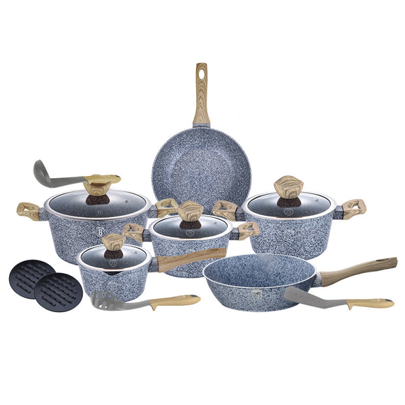 Berlinger Haus Light Wood 15-Piece Marble Coating Cookware Set