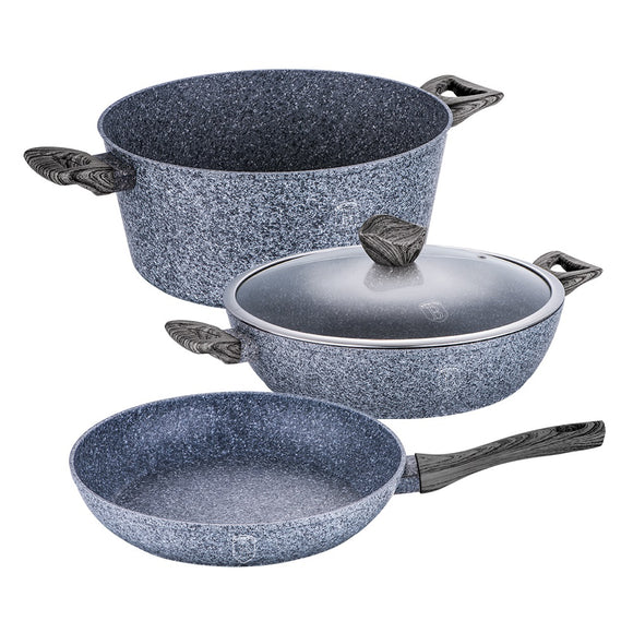 Berlinger Haus Smoked Wood 4-Piece Marble Coating Cookware Set
