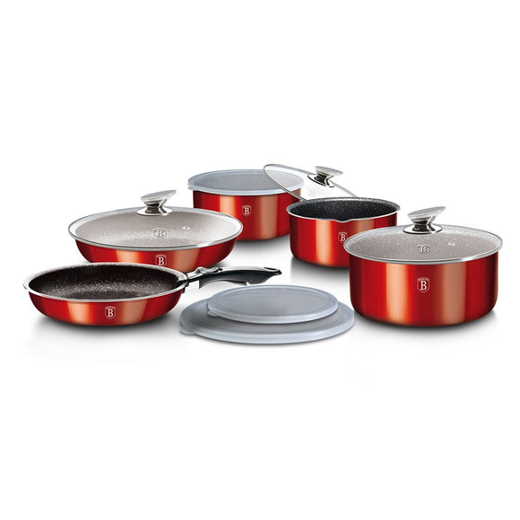 Berlinger Haus 12-Piece Marble Coating Cookware Set - Burgundy Metallic