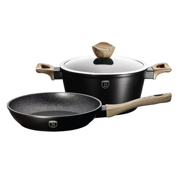 Berlinger Haus Ebony Maple 3-Piece Marble Coating Cookware Set