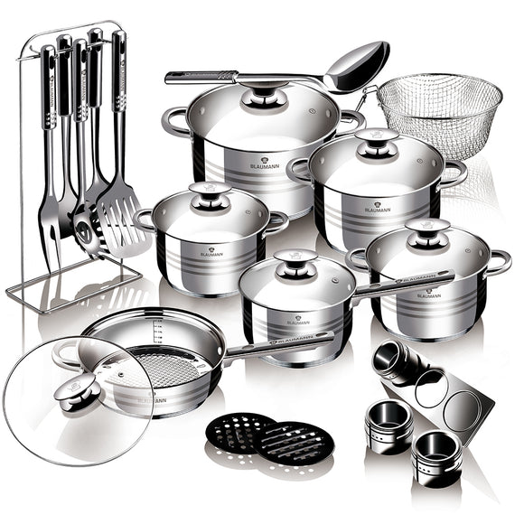 Blaumann 27-Piece Stainless Steel Cookware Set Gourmet Line