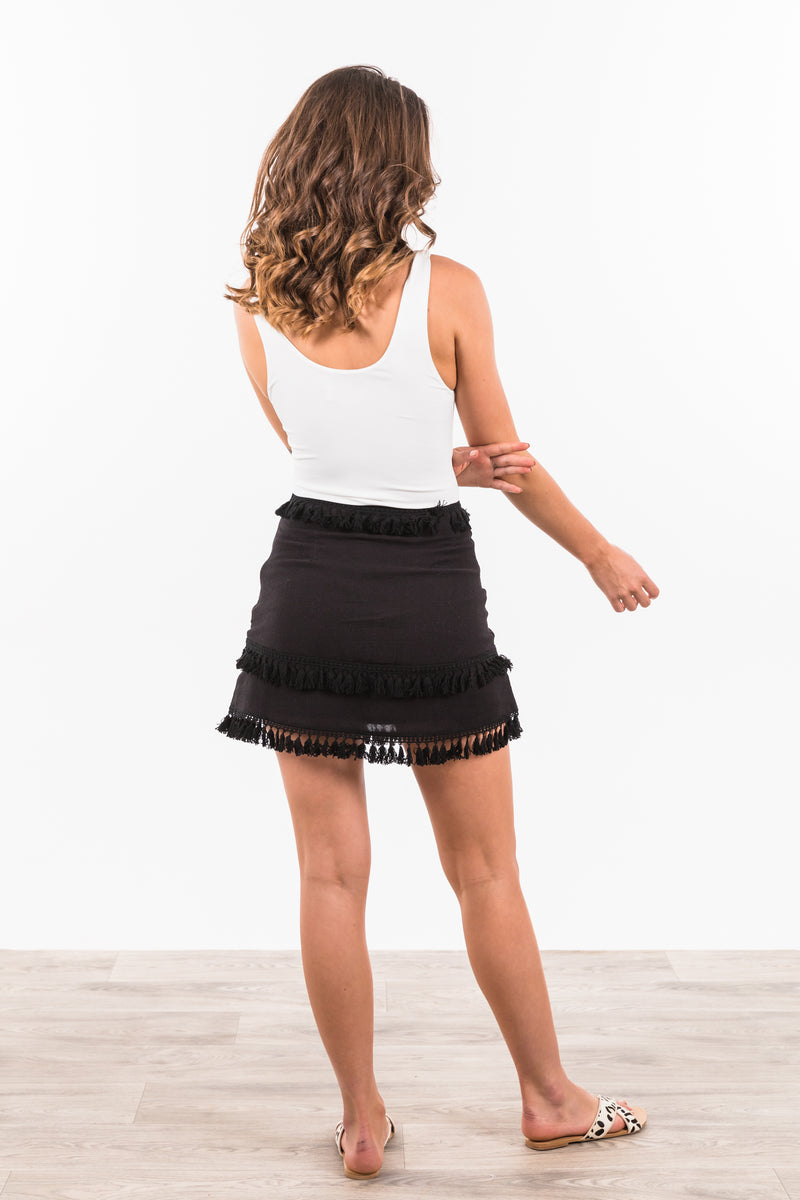 Akuma Tassle Skirt - Black