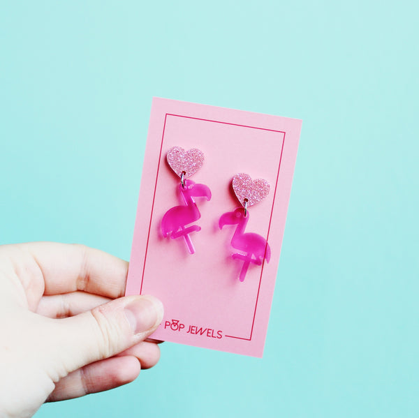 Mini Flamingo - Transparent Pink/Pink Glit