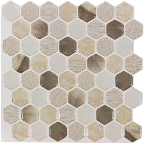 Front Peel N' Stick Contemporary Mini Hex Beige Golden Resin Vynil Tile