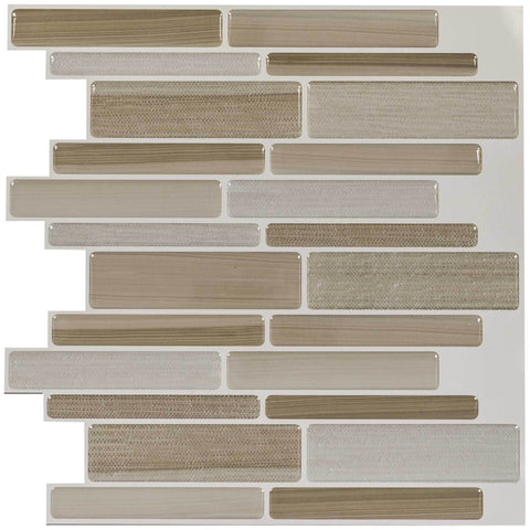 Front Peel N' Stick Contemporary Linear Beige Resin Vynil Tile