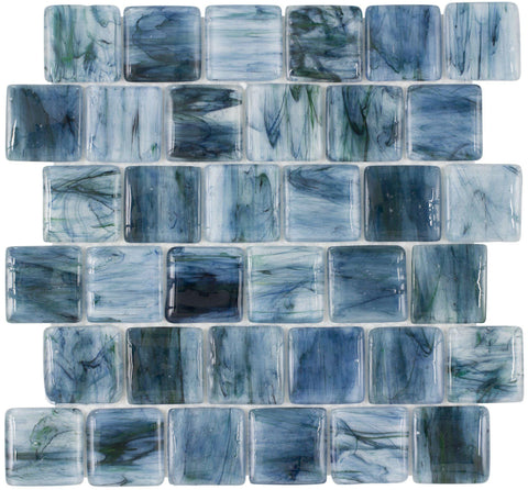 Front Classic Brick Pattern Blue Glossy Glass Mosaic Tile