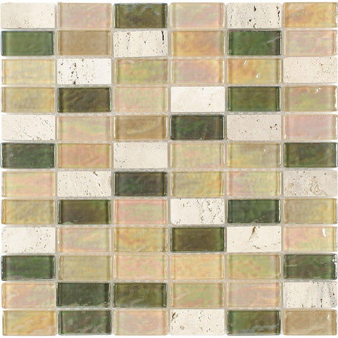 Front Contemporary Assorted Rectangles Beige Green Orange Glass Stone Mosaic Tile