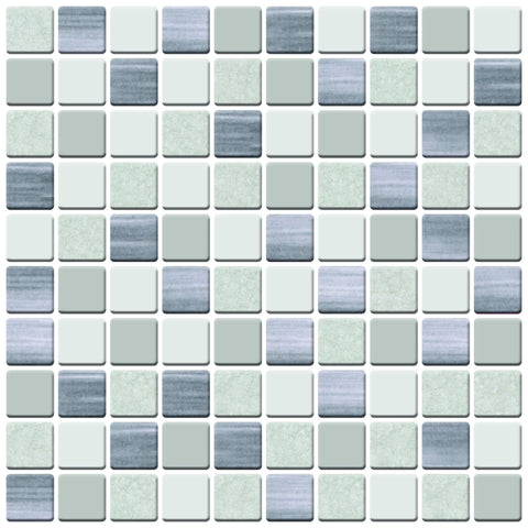 MTO0420 Peel and Stick 5Pak 1X1 Squares Beige Grey Glossy Stone-like Vinyl Mosaic Tile