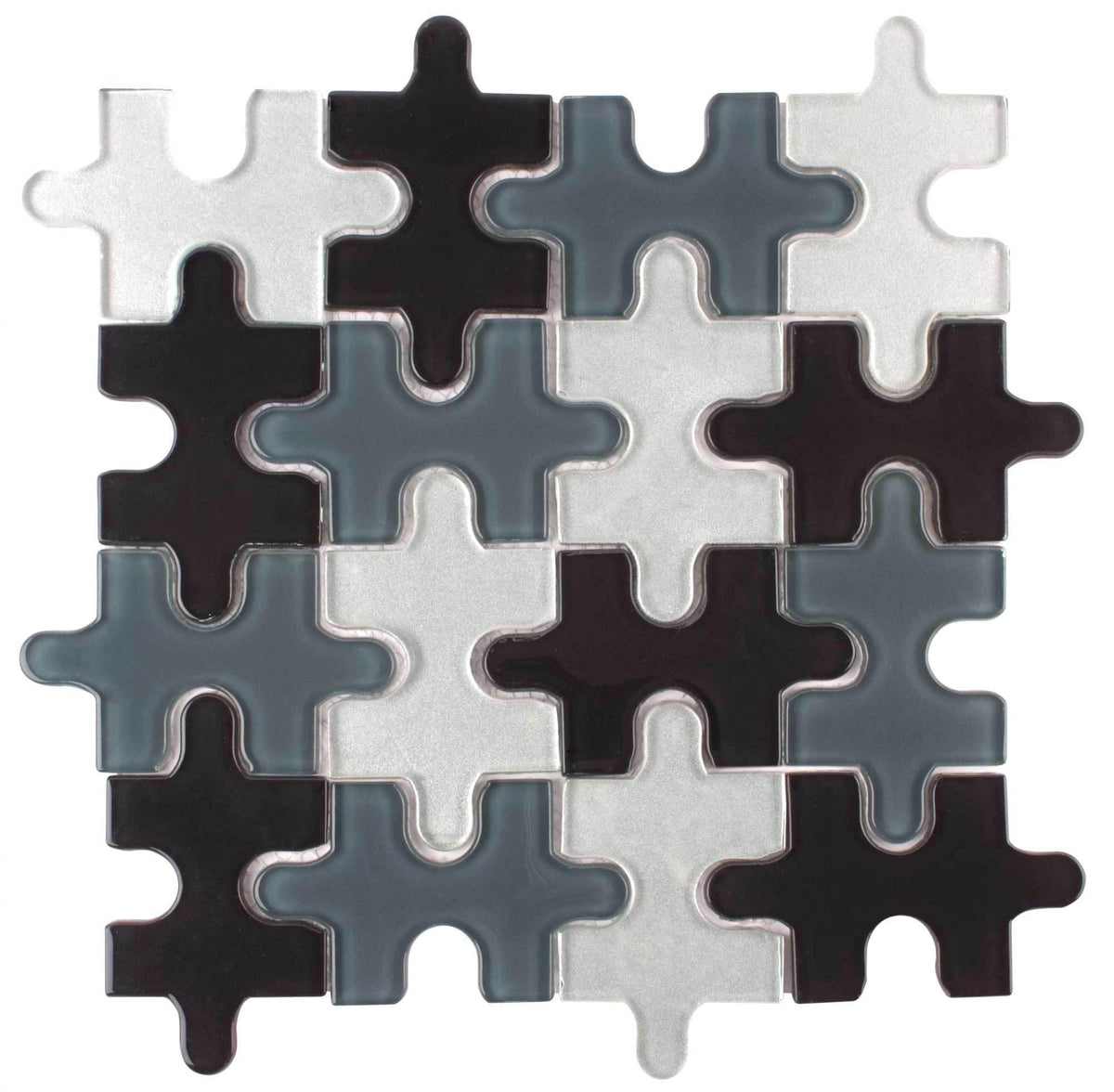 Mto0045 Puzzle Pieces Black Gray White Glossy Glass Mosaic