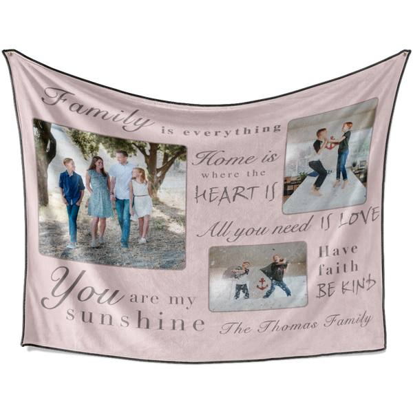 Personalized Warm Family with 3 Photos Fleece Custom Blanket