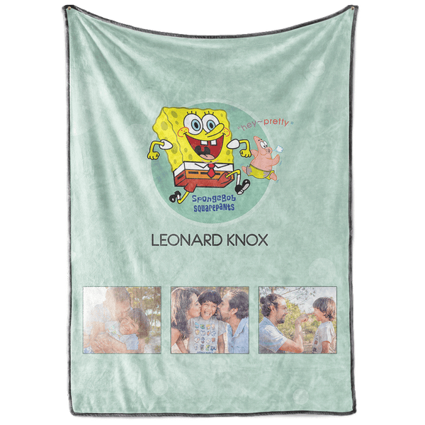 Personalized SpongeBob Kids with 3 Photos Fleece Custom Blanket