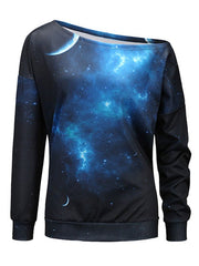 Starry Sky Universe Print One Shoulder Sweatshirt