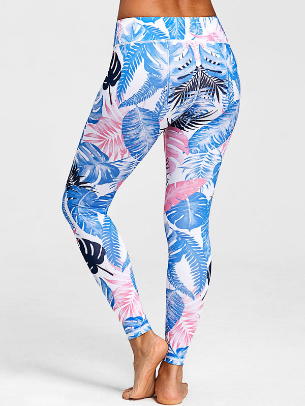 Tropical Leaf Print Active Leggings