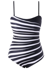 One Piece Zebra Stripe Swimwear