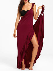 Long Flounce Wrap Cover Up Dress