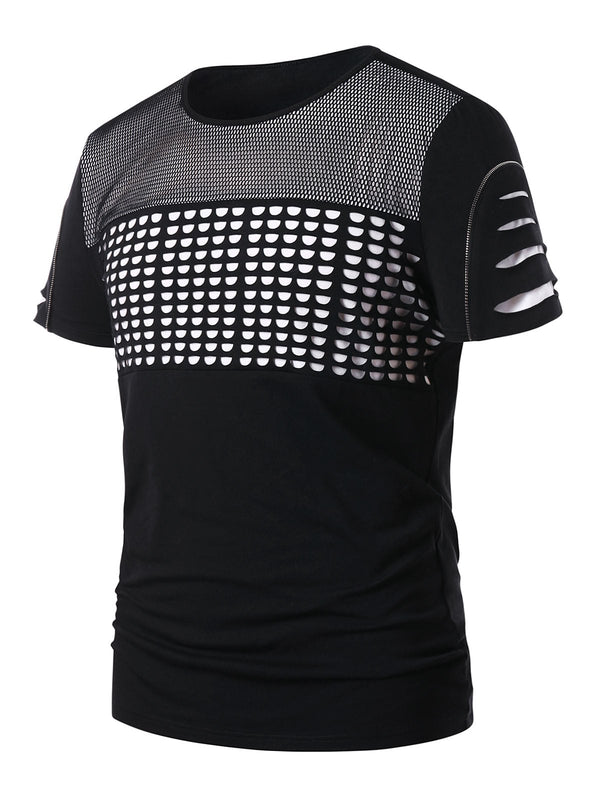 Ripped Mesh Embellished Short Sleeve T-shirt