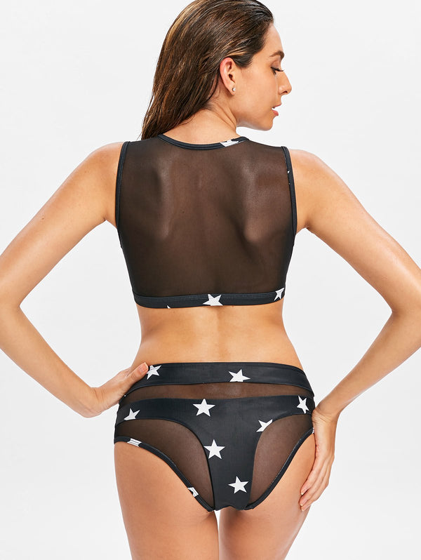 Star Sheer Mesh Tankini Set