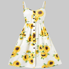 Spaghetti Strap Sunflower Print Mini Dress