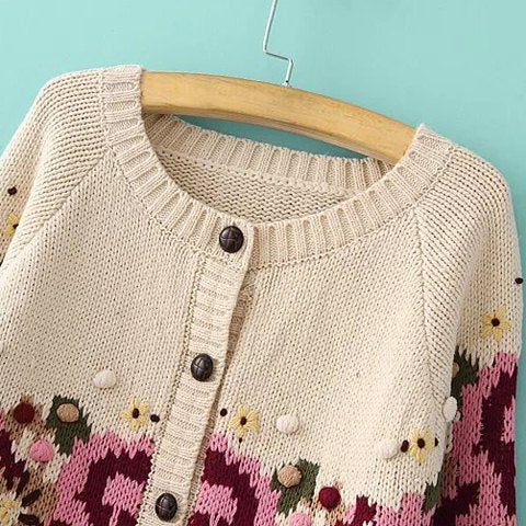 Ethnic Style Round Neck Long Sleeve Knitted Single-Breasted Women's Cardigan