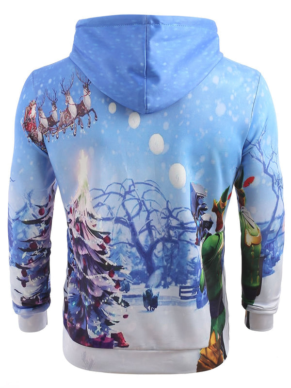 Snowfield Christmas Tree Kangaroo Pocket Hoodie