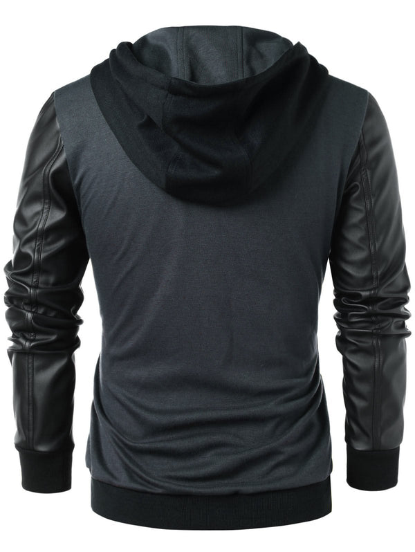 Zip Up PU Leather Panel Hoodie