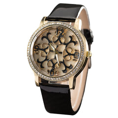 GREALYWomen Fashion Belts Watches Hollowed Flowers Decorative Watches