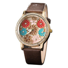 GREALYLadies Fashion Diamond Studded Watch Flowers Leather With Decorative Watch