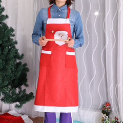 Christmas Decorations Supplies Kitchen Red Nonwoven Apron