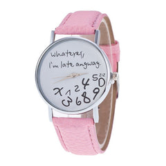 Whatever I M Already Late Womens Leather Quartz Wrist Watch Clock