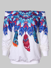 Off The Shoulder Feather Print Sweatshirt