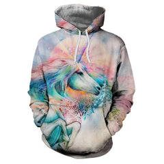 3D Winter Fashion Sports Unicorn Horse Print Lady Hoodie