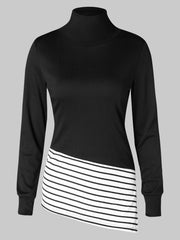 Striped Side Split Splicing Sweatshirt